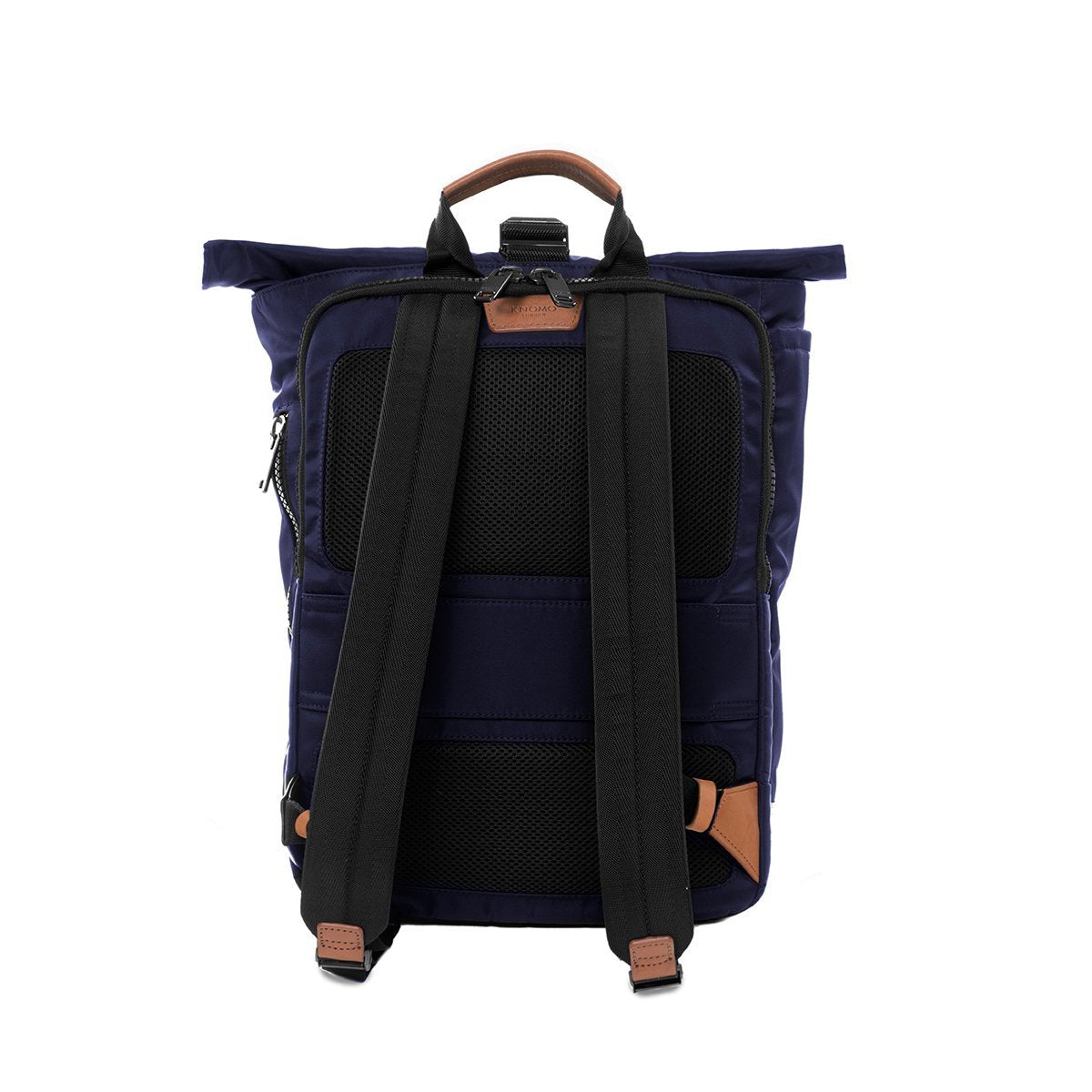 "KNOMO Novello Roll-Top Laptop Backpack From Back 15"" -  Dark Navy 