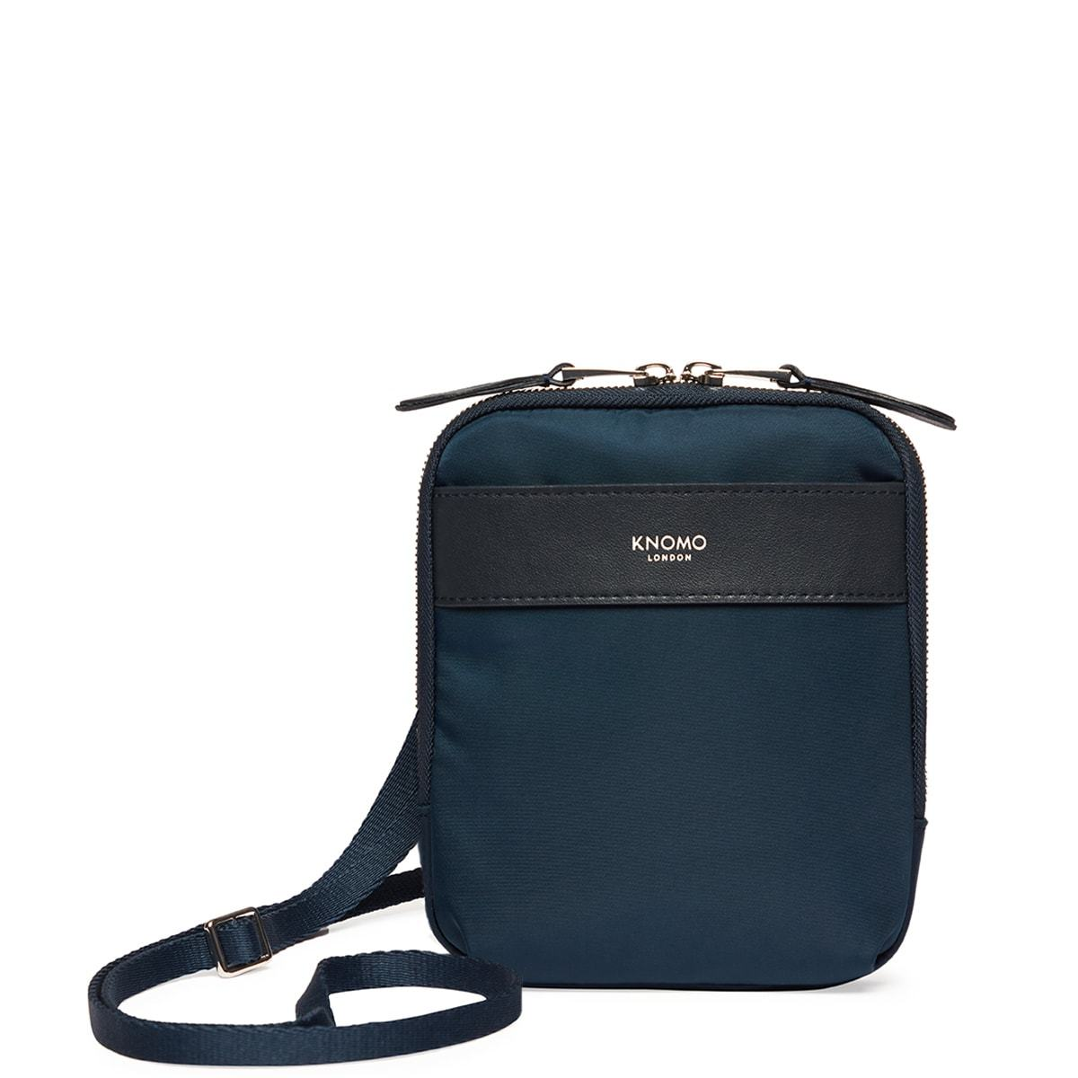"KNOMO Rex Mini Cross-Body From Front With Straps 6"" -  Dark Navy Blazer 