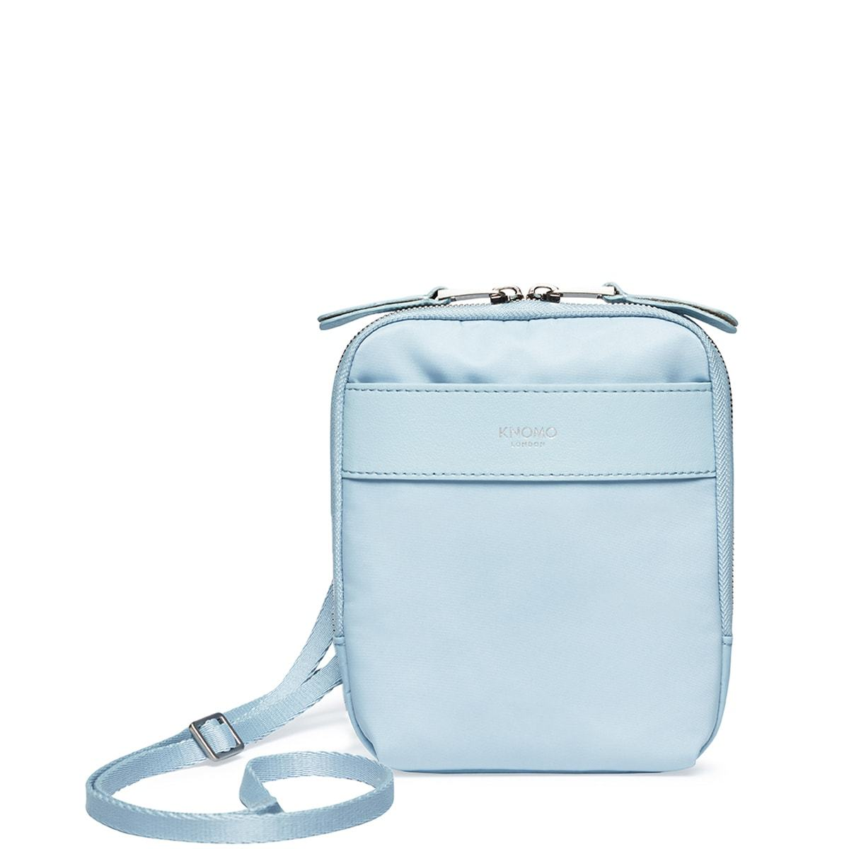 "KNOMO Rex Mini Cross-Body From Front With Straps 6"" -  Poplin Blue 