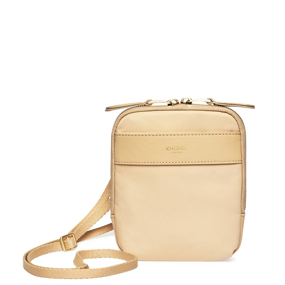 "KNOMO Rex Mini Cross-Body From Front With Straps 6"" -  Trench Beige 