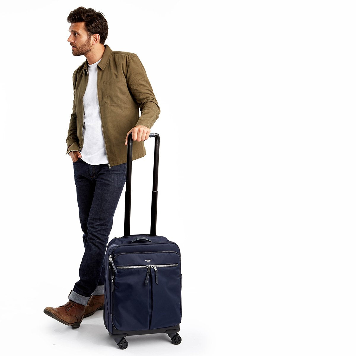 "KNOMO Park Lane Boarding Tote Male Model Holding 15"" -  Dark Navy 