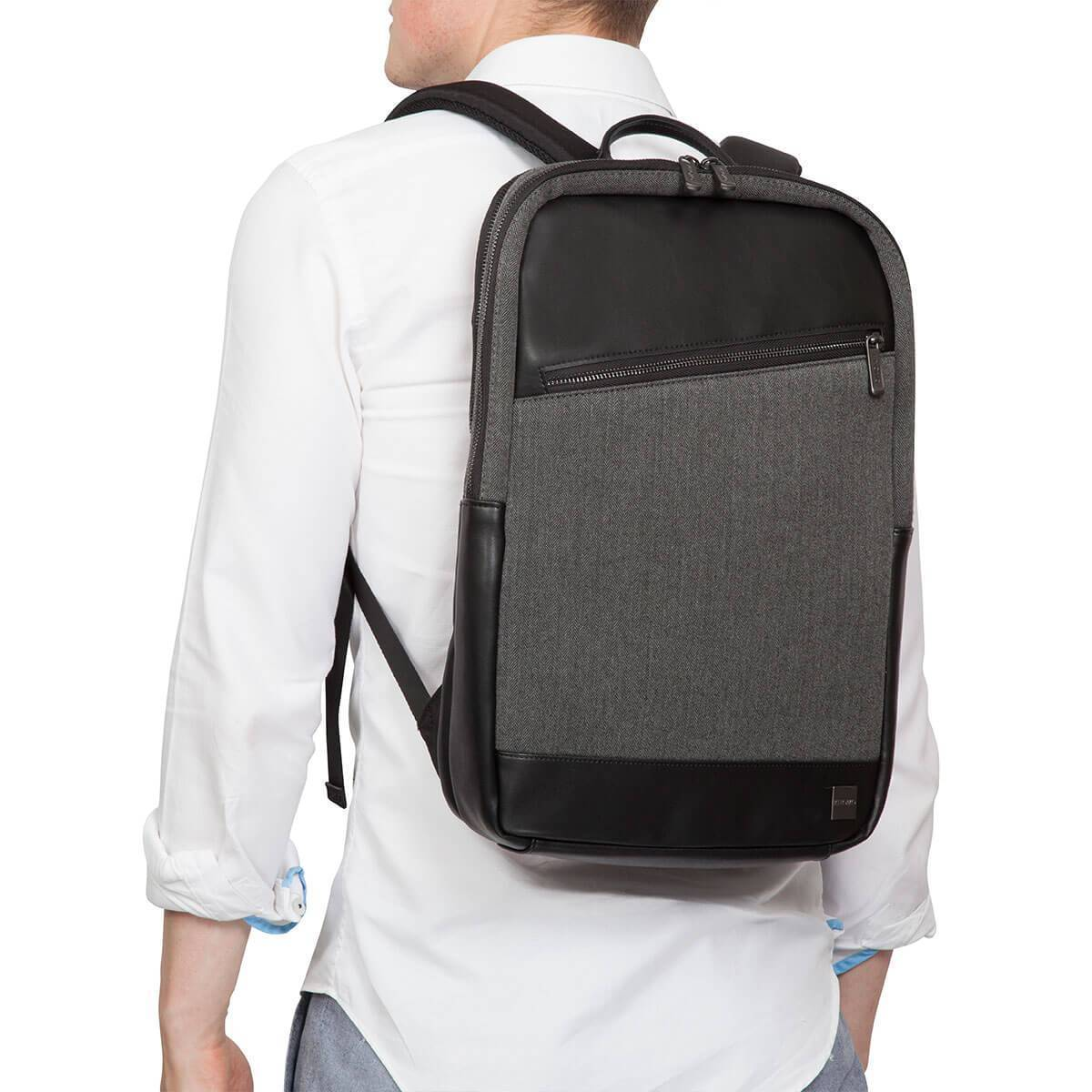 "KNOMO Southampton Laptop Backpack Male Model Wearing 15"" -  Grey 