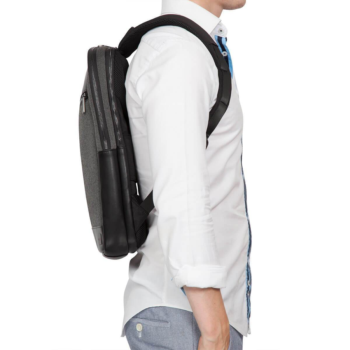 "KNOMO Southampton Laptop Backpack Male Model From Side 15"" -  Grey 