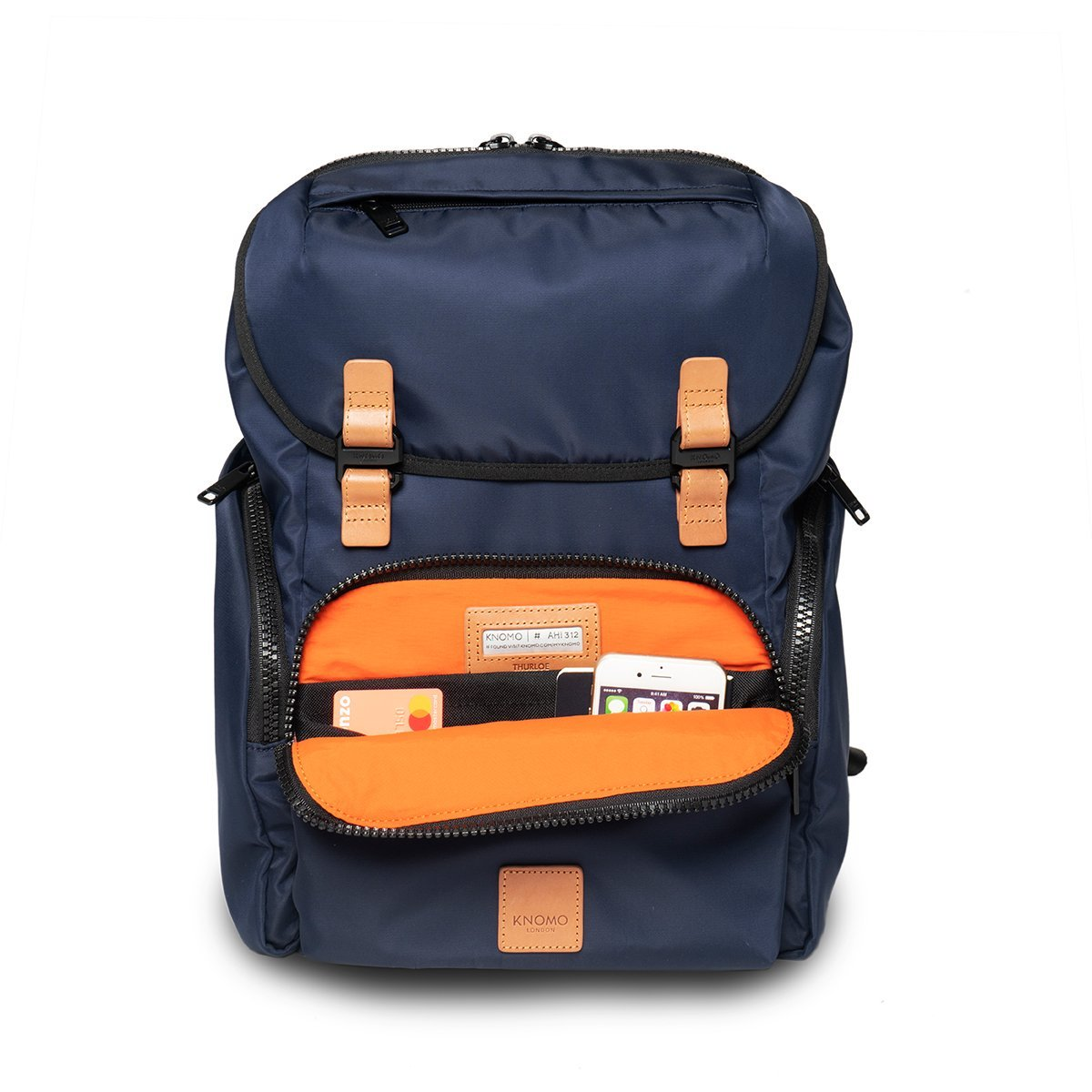 "KNOMO Thurloe Backpack Front Pocket With Items 15"" -  Dark Navy 