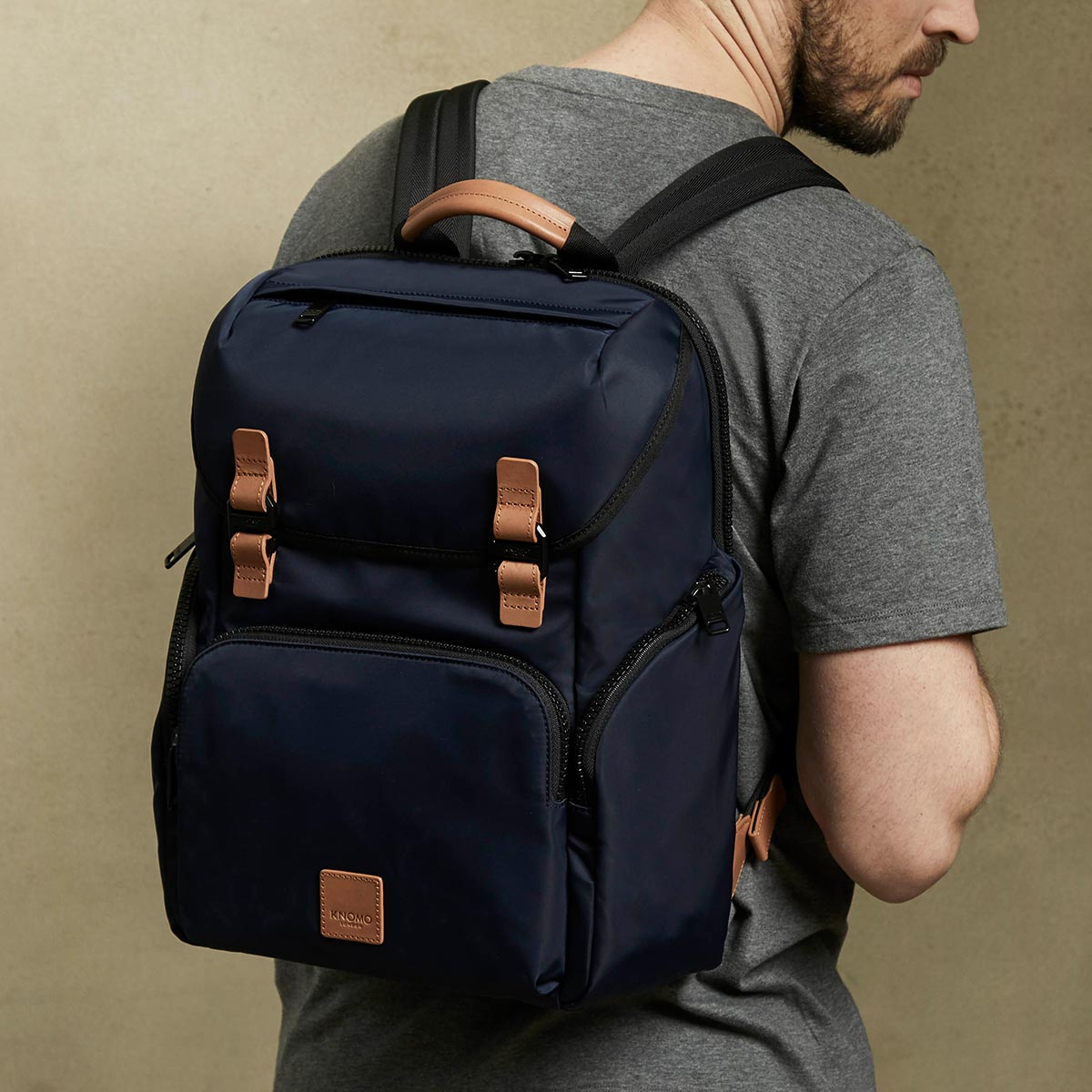 "KNOMO Thurloe Backpack Male Model Wearing 15"" -  Dark Navy 