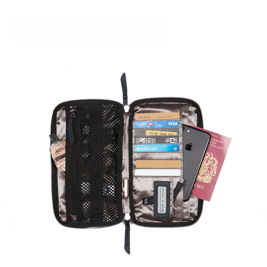 V&A Knomad Travel Wallet - Dark Navy | KNOMO