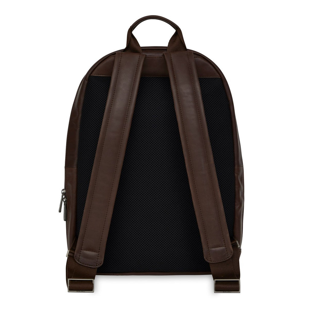 "Albion Mens Leather 15"" Laptop Backpack - Brown – KNOMO"
