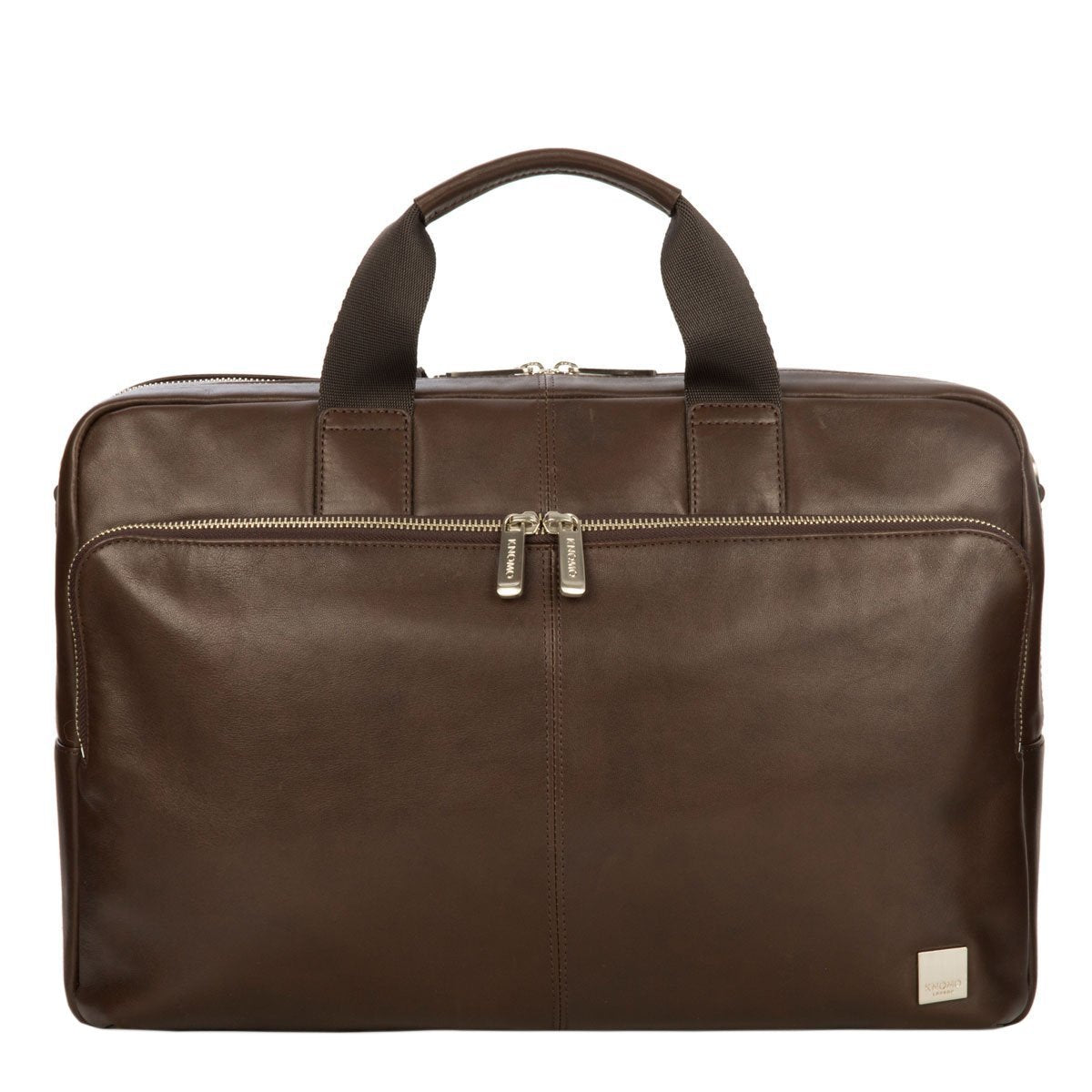 "KNOMO Amesbury Laptop Briefcase From Front 15"" -  Brown 