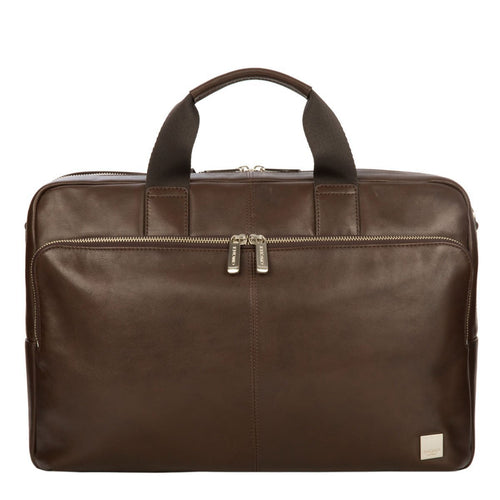 "KNOMO Amesbury Leather Laptop Briefcase - 15.6"" From Front 