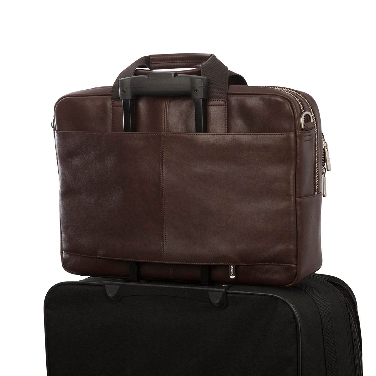 "KNOMO Amesbury Laptop Briefcase Trolley Sleeve View 15"" -  Brown 