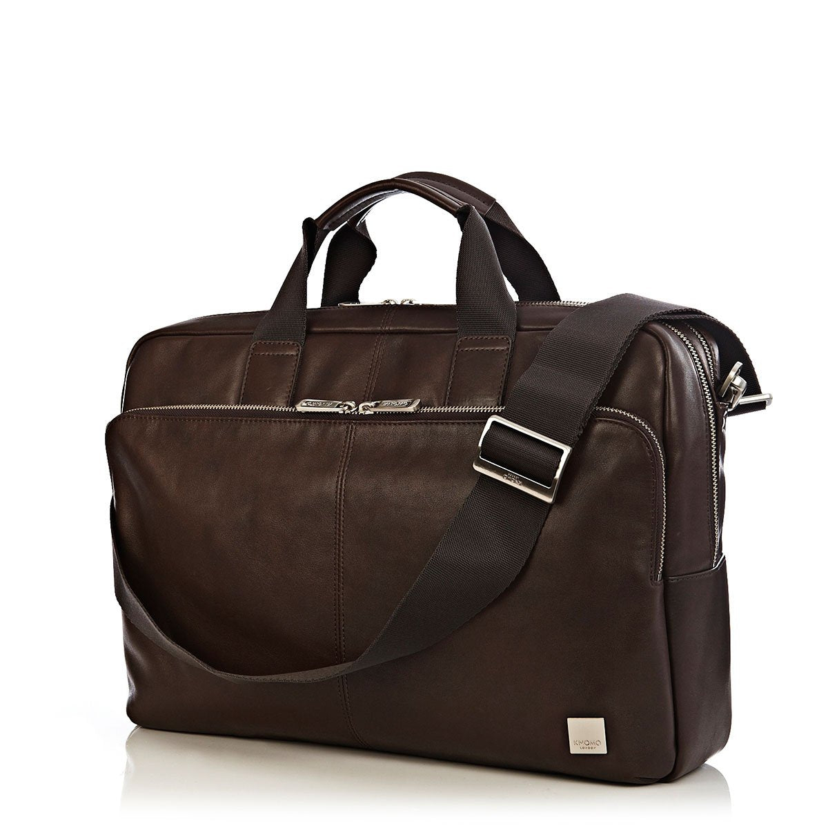 "KNOMO Amesbury Laptop Briefcase Three Quarter View With Strap 15"" -  Brown 