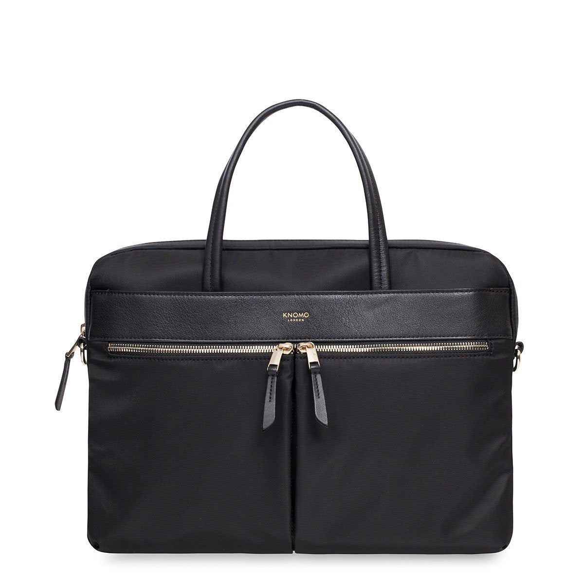 "KNOMO Hanover Laptop Briefcase From Front 14"" -  Black 
