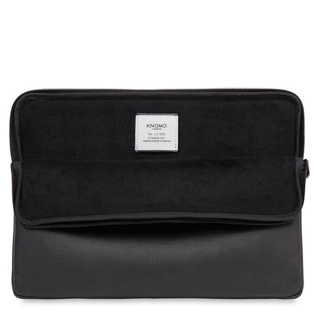 "Leather 15"" Protective Laptop & MacBook Sleeve Case - Black – KNOMO"