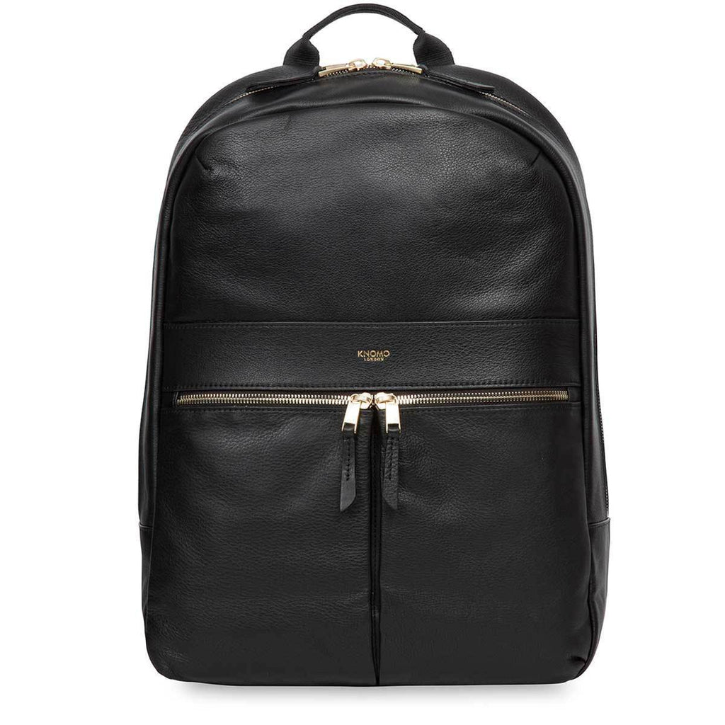 "Beaux Leather Laptop Backpack - 14"" - Black / Gold Hardware 