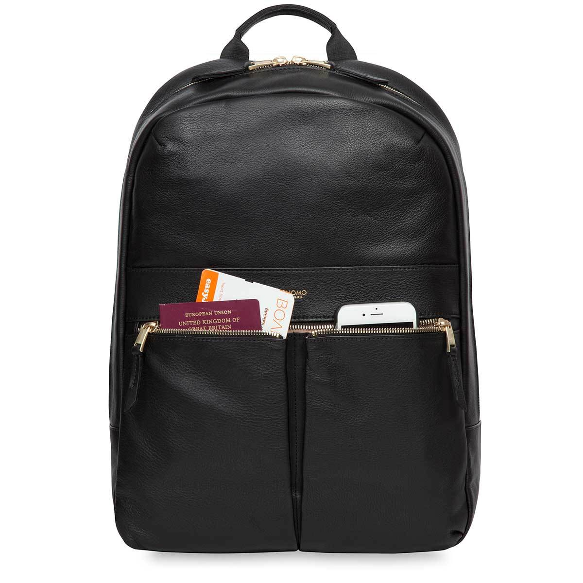 "KNOMO Beaux Laptop Backpack Front Pocket With Items 14"" -  Black 