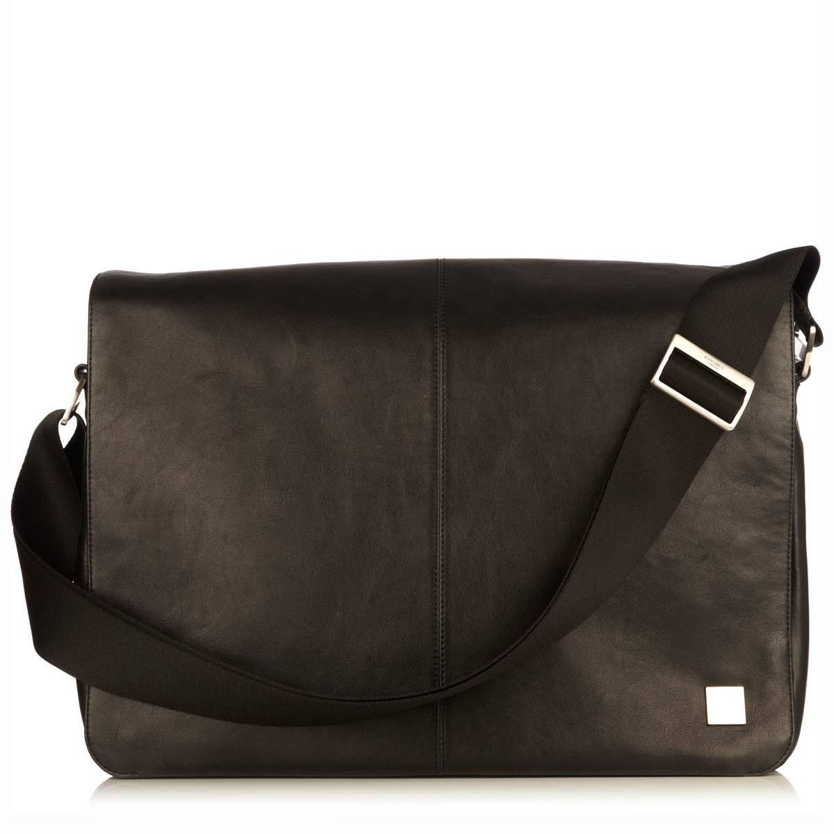 "Bungo Leather Laptop Messenger Bag - 15.6"" -  Black 