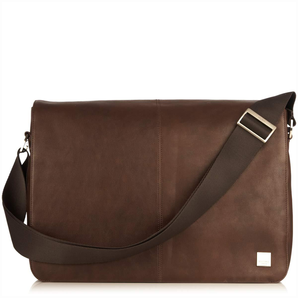 "KNOMO Bungo Laptop Messenger Bag From Front 15.6"" -  Brown 