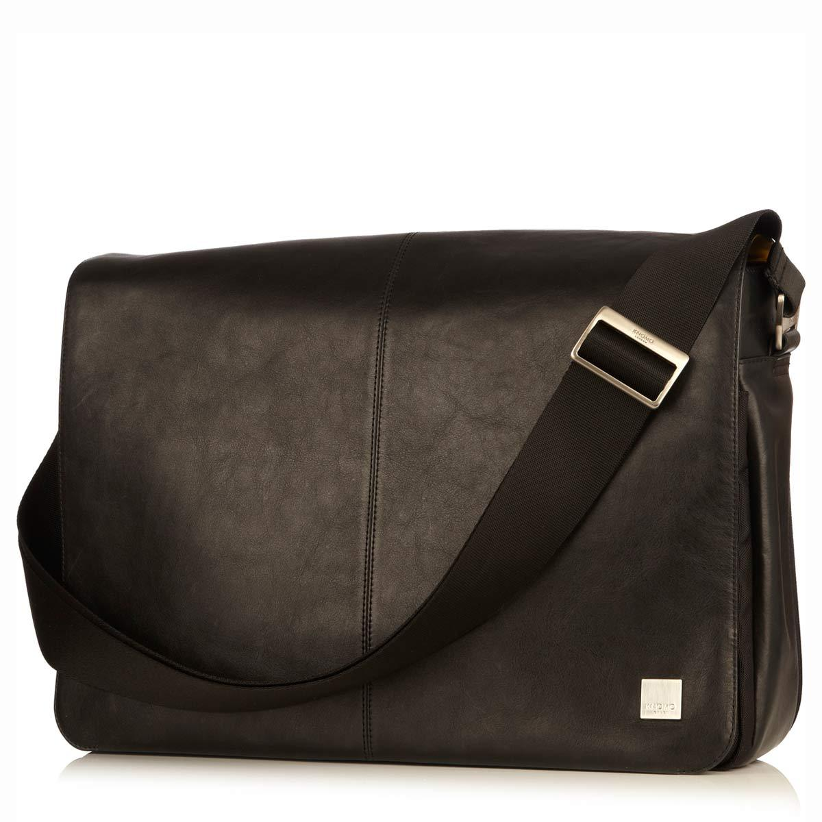 "KNOMO Bungo Laptop Messenger Bag Three Quarter View With Strap 15.6"" -  Black 