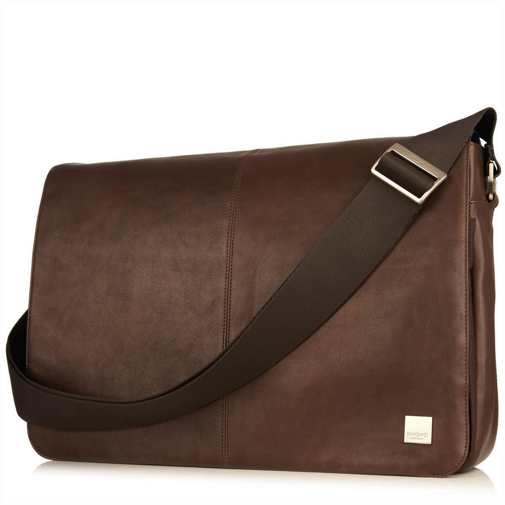 "Bungo 15.6"" Expandable Leather Messenger Laptop Bag - Brown – KNOMO"
