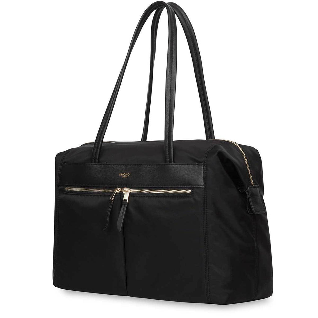 "Curzon Womens 14"" Leather Laptop Shoulder Tote Bag - Black – KNOMO"