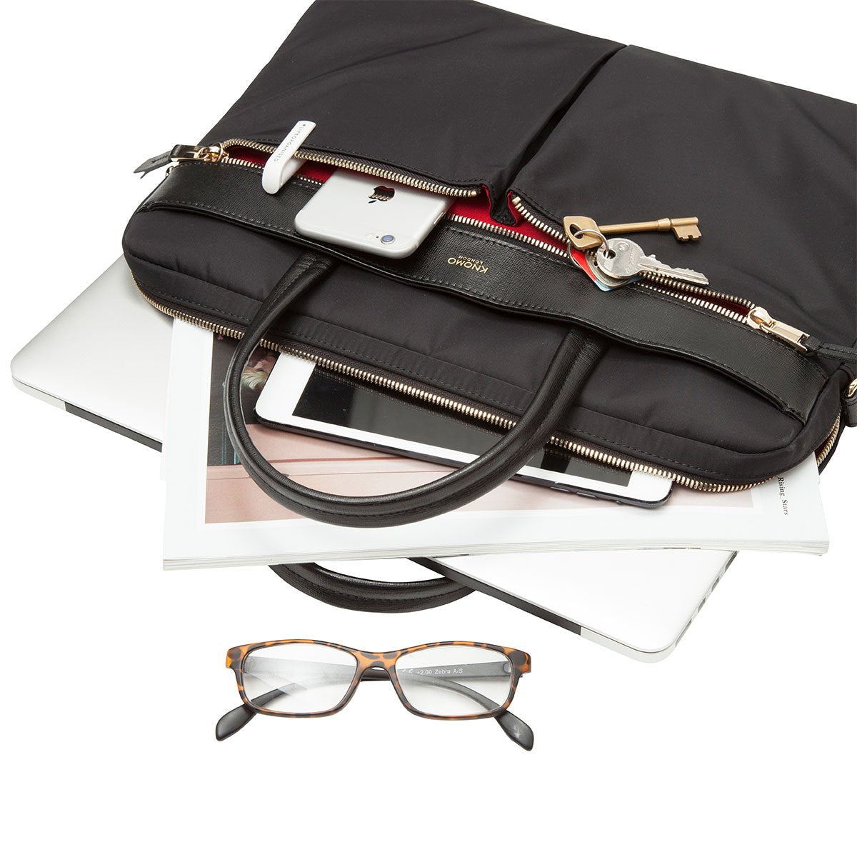 "KNOMO Hanover Laptop Briefcase Laying Down With Items 14"" -  Black 