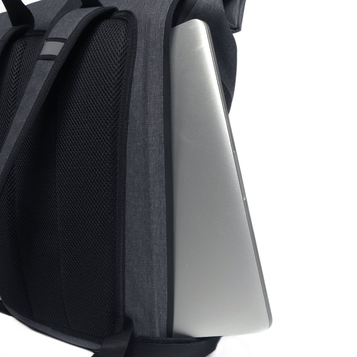 "KNOMO Kew Roll-Top Laptop Backpack Laptop Pocket Close Up 15"" -  Grey 
