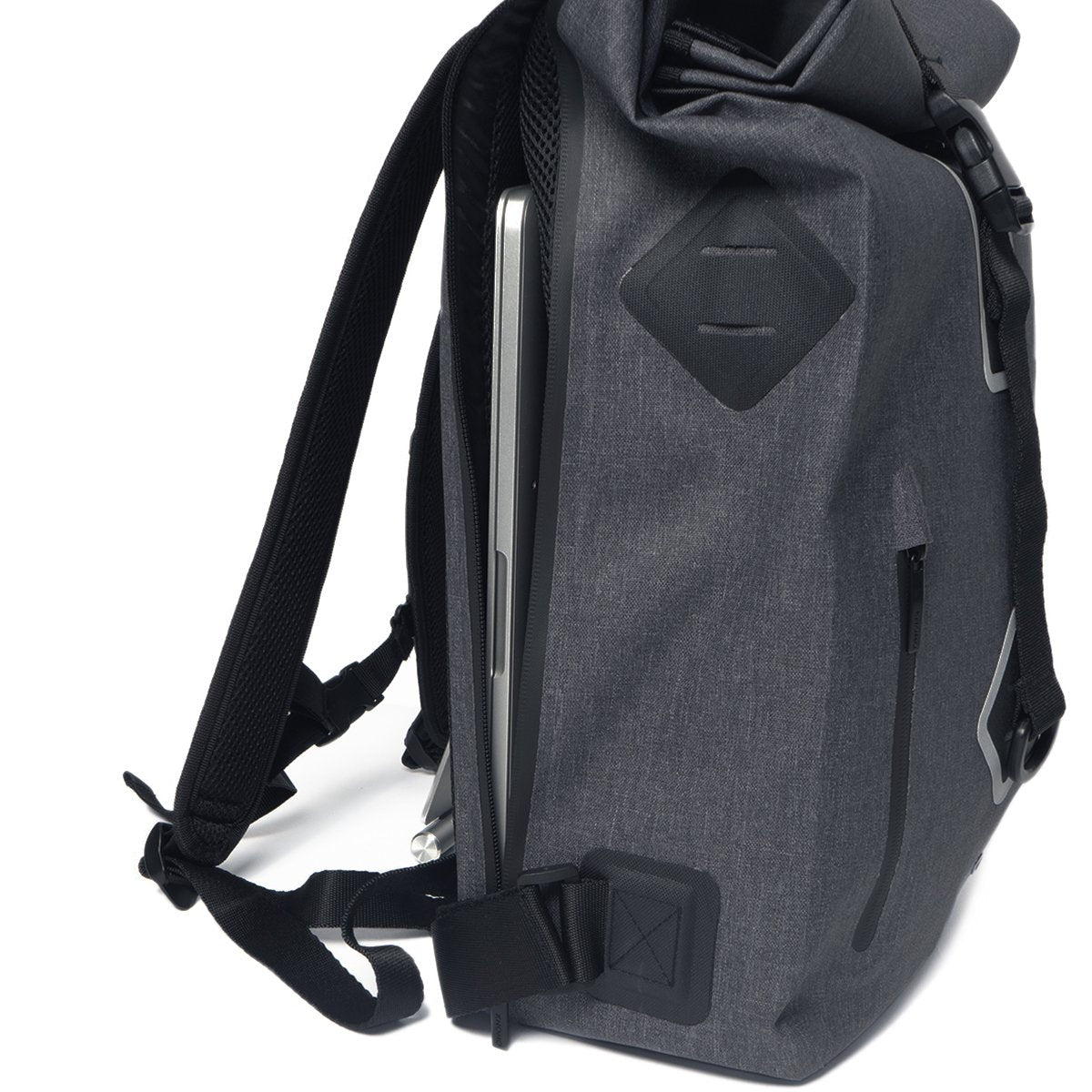 "KNOMO Kew Roll-Top Laptop Backpack From Side With Pocket 15"" -  Grey 