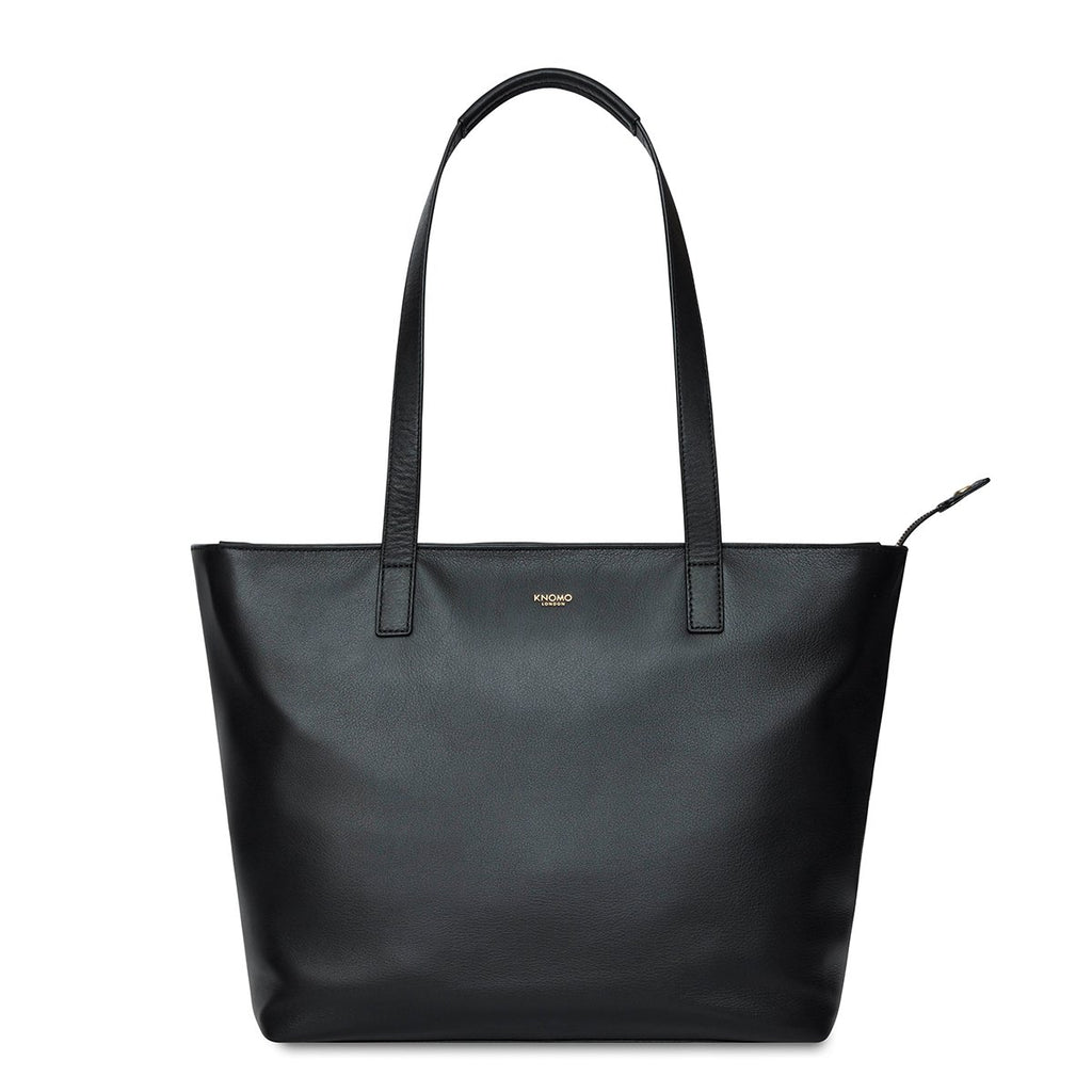 "Leather Laptop Tote Bag - 13"" - Black – KNOMO"
