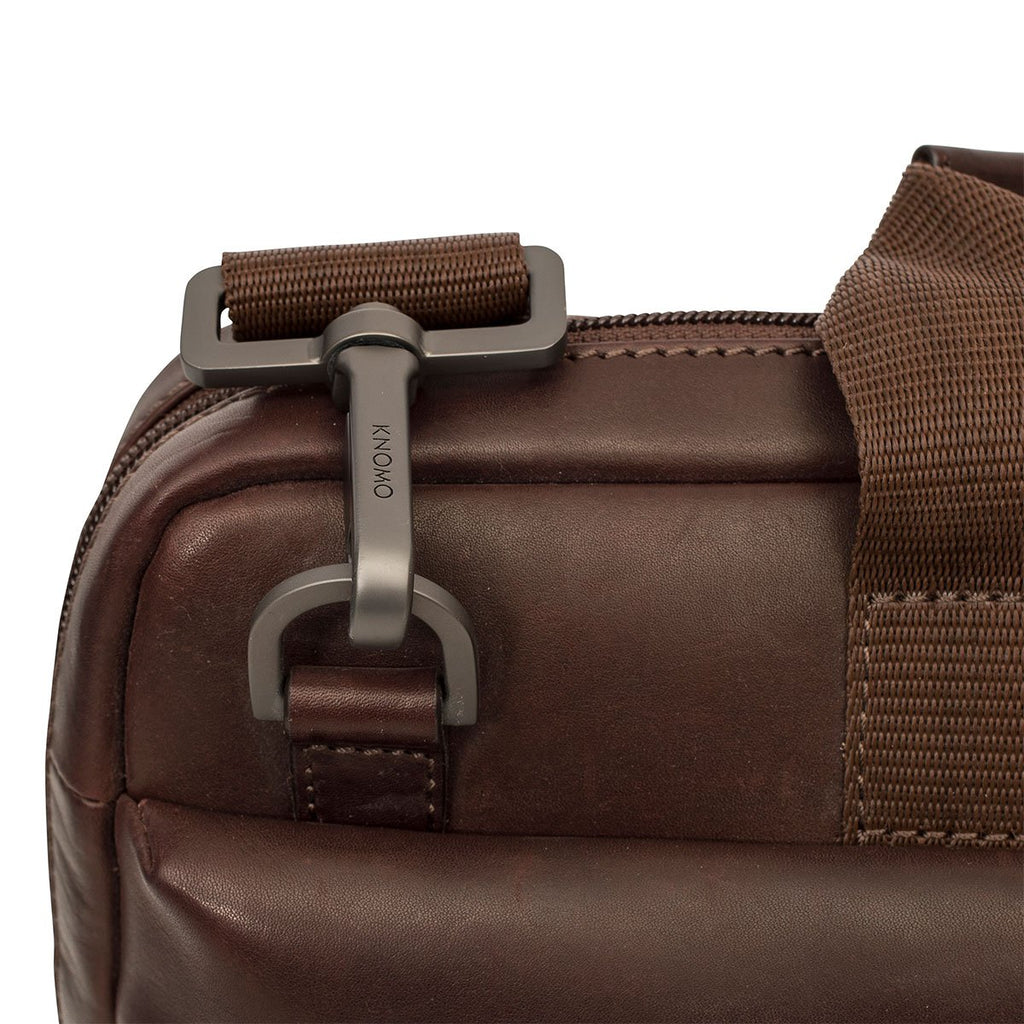 "Foster Mens Classic Leather 14"" Laptop Briefcase - Brown – KNOMO"