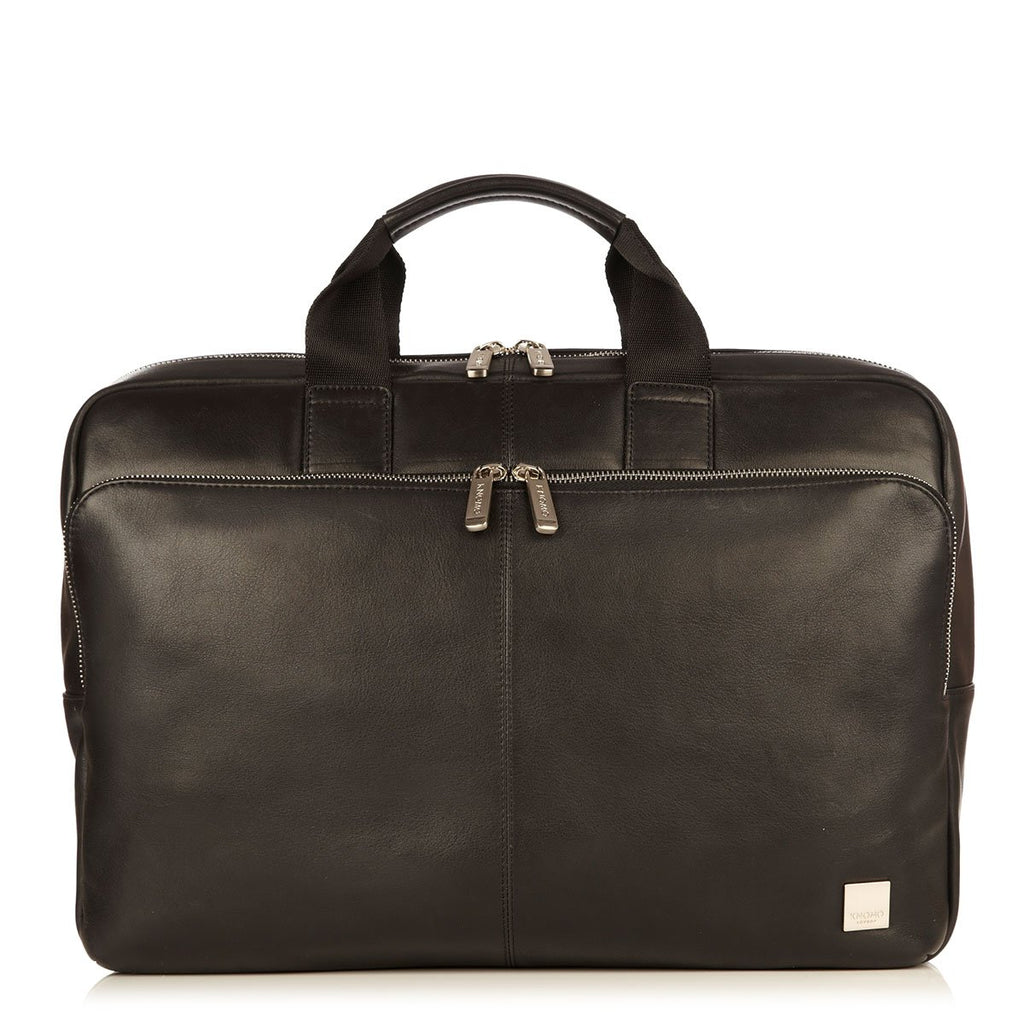 "Newbury Mens Premium 15"" Leather Laptop Briefcase - Black – KNOMO"