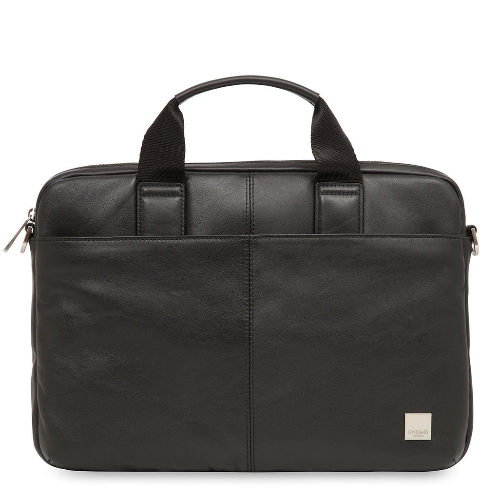 "Stanford Mens 13"" Slim Leather Laptop Briefcase - Black – KNOMO"