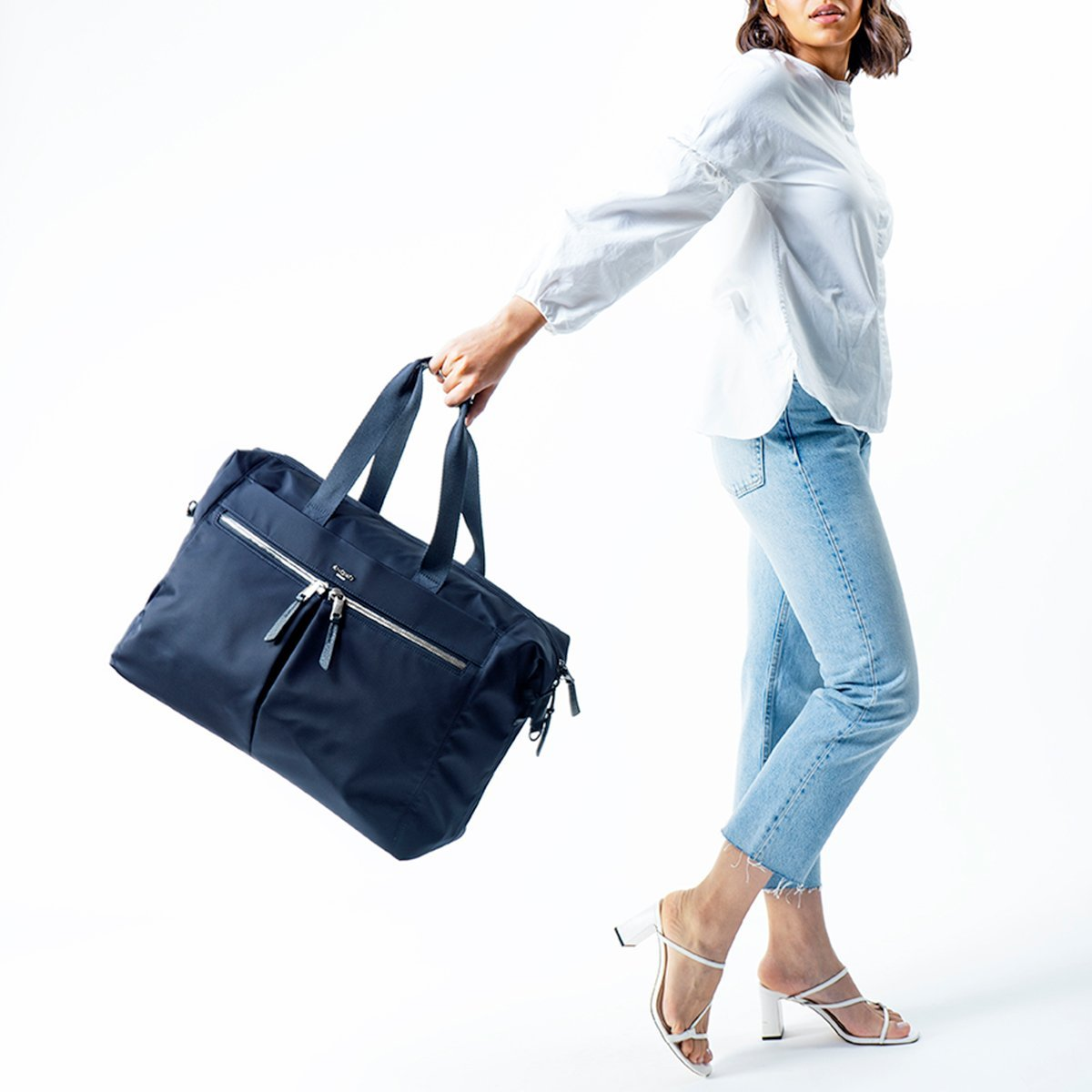 "KNOMO Stratton Duffle/Tote Female Model Holding Straps 15"" -  Dark Navy 