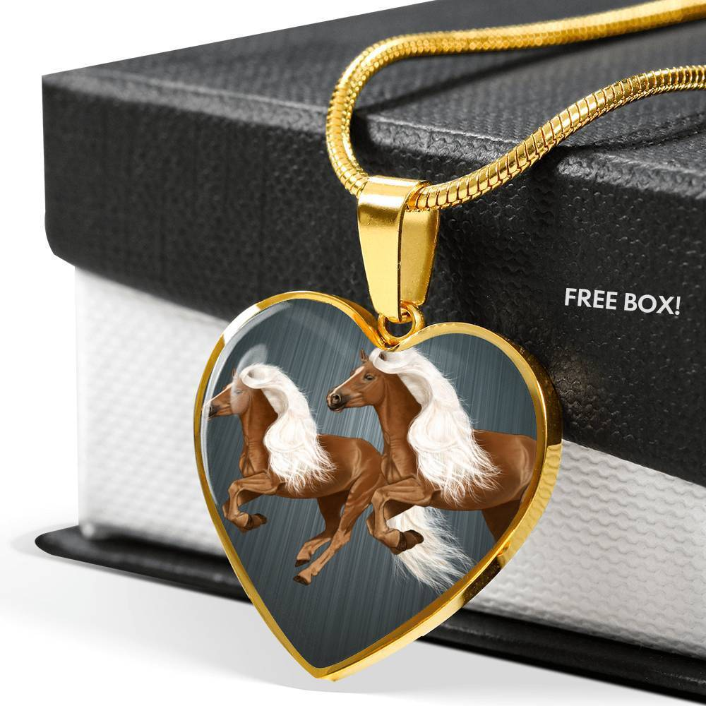 Haflinger Horse Art Print Heart Charm Necklaces-Free Shipping