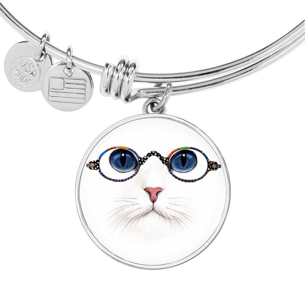 Cute Cat With Glasses Print Circle Pendant Luxury Bangle-Free Shipping