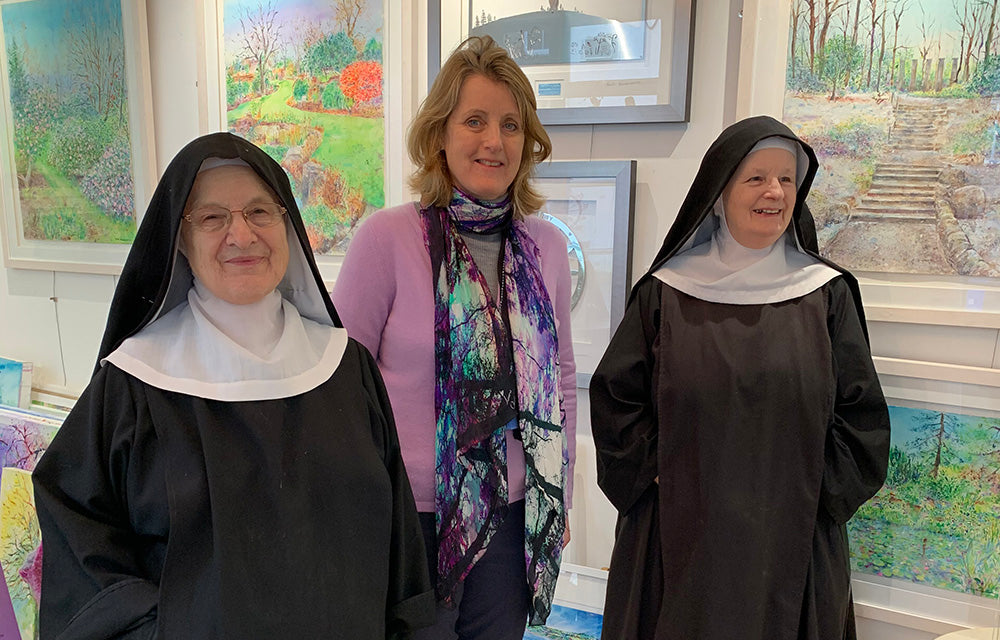 The day two nuns from Stanbrook Abbey called in to my Dove Tree Art Gallery and Studio in Harrogate.