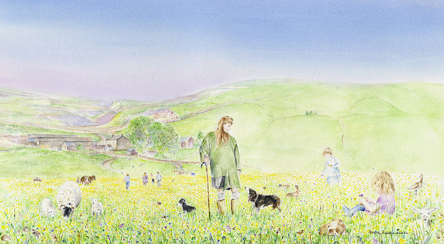 NEW!! The Yorkshire Shepherdess, The Hay Meadows in Summer at Ravenseat Farm, Yorkshire Limited Edition Print