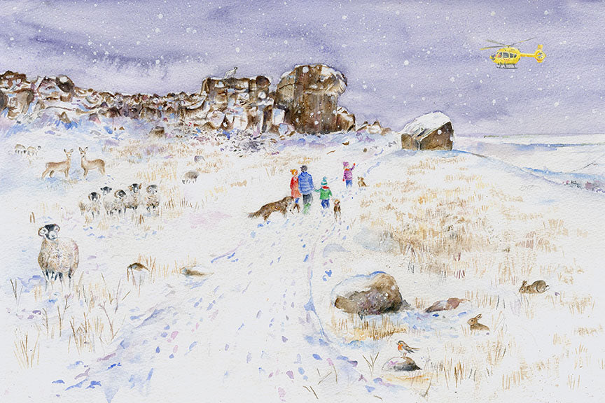 Illustrating for the Yorkshire Air Ambulance. Christmas Cards I have created including 'Ilkley Moor with Hats at The Cow and Calf Rocks' and The Yorkshire Shepherdess, Amanda Owen.
