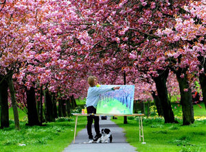 Anita Bowermain painting cherry blossom on the Stray in Harrogate