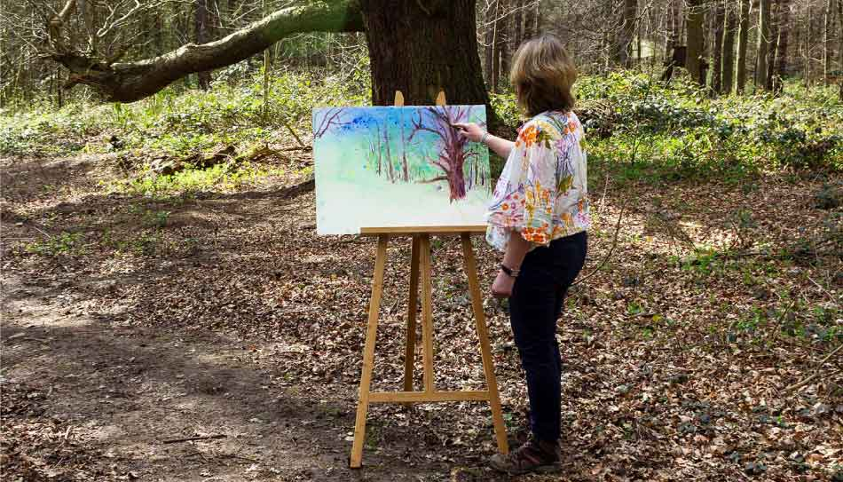 Anita Bowerman painting woodland wedding concept at Hazlewood Castle