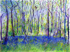 Blue Blue Bluebells painting by Anita Bowerman