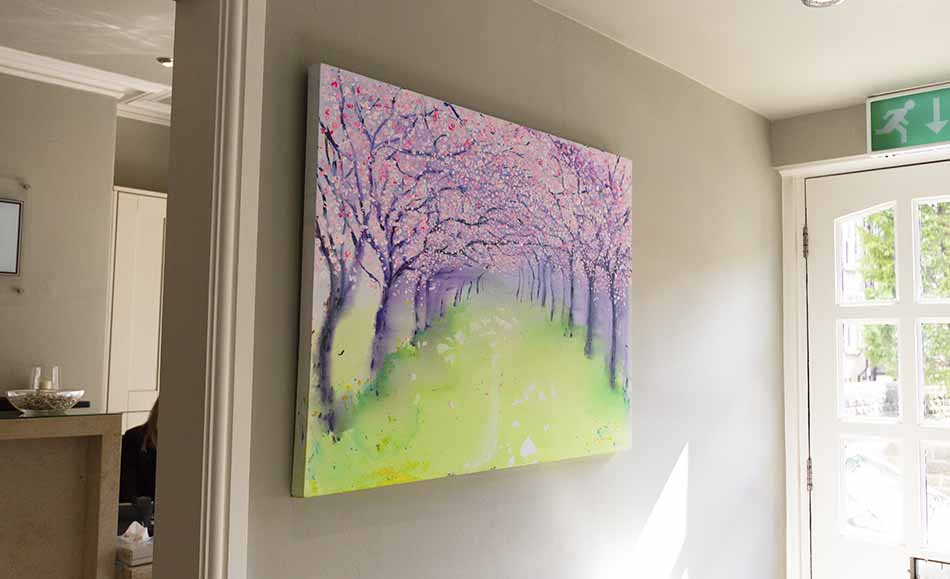 Cherry blossom painting hanging in The Raglan Suite reception
