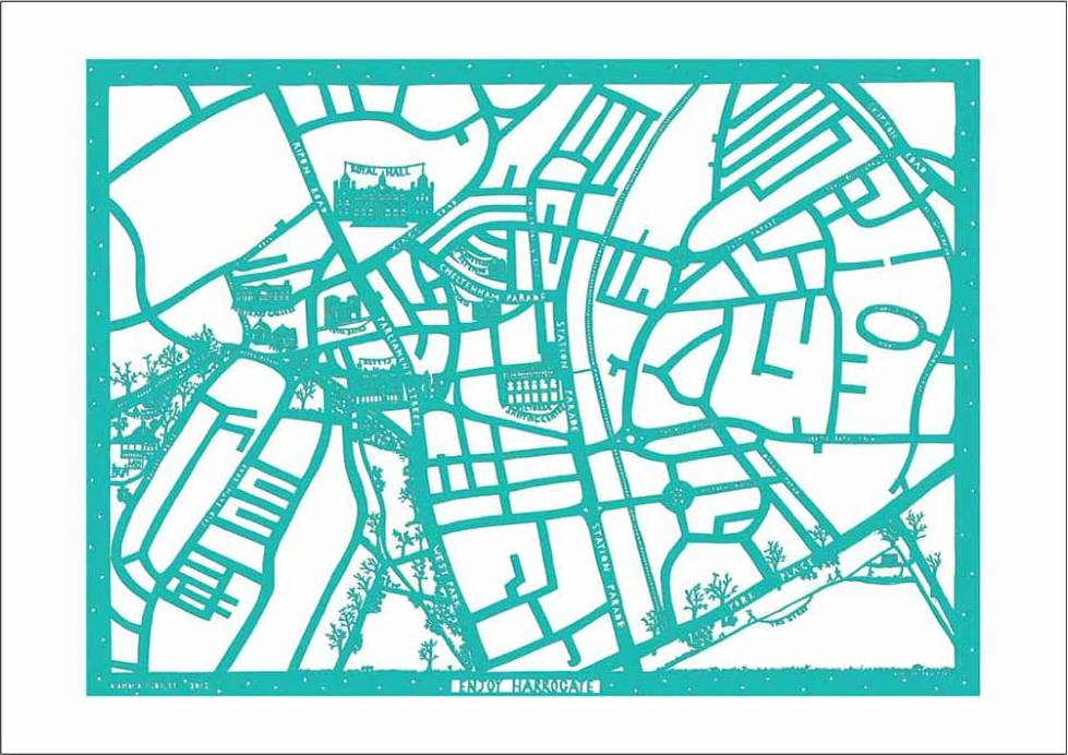 Enjoy Harrogate Map paper cut artwork in turquoise and white