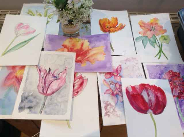 Painting flowers at Harrogate Garden and Flower School