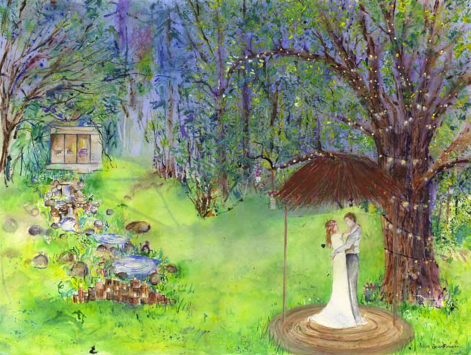Anita Bowerman Hazlewood Castle Woodland Wedding bride and groom concept painting