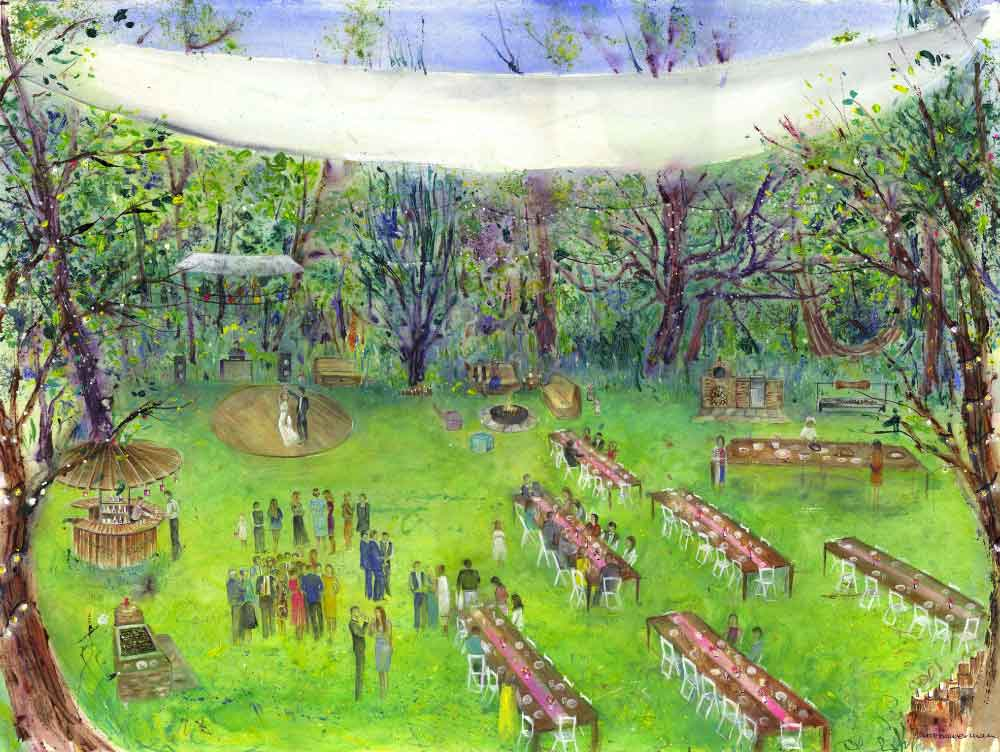 Anita Bowerman Hazlewood Castle woodland wedding concept painting