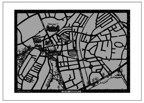 Enjoy Harrogate Map paper cut artwork in dark and light grey