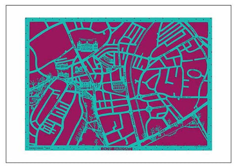 Enjoy Harrogate Map paper cut artwork in turquoise and burgundy