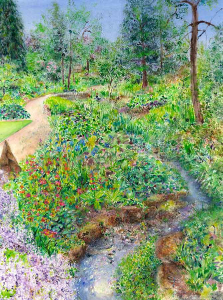 Painting of Stream-side at RHS Garden Harlow Carr