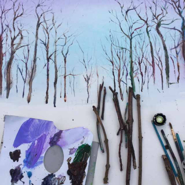 Painting trees using fallen twigs
