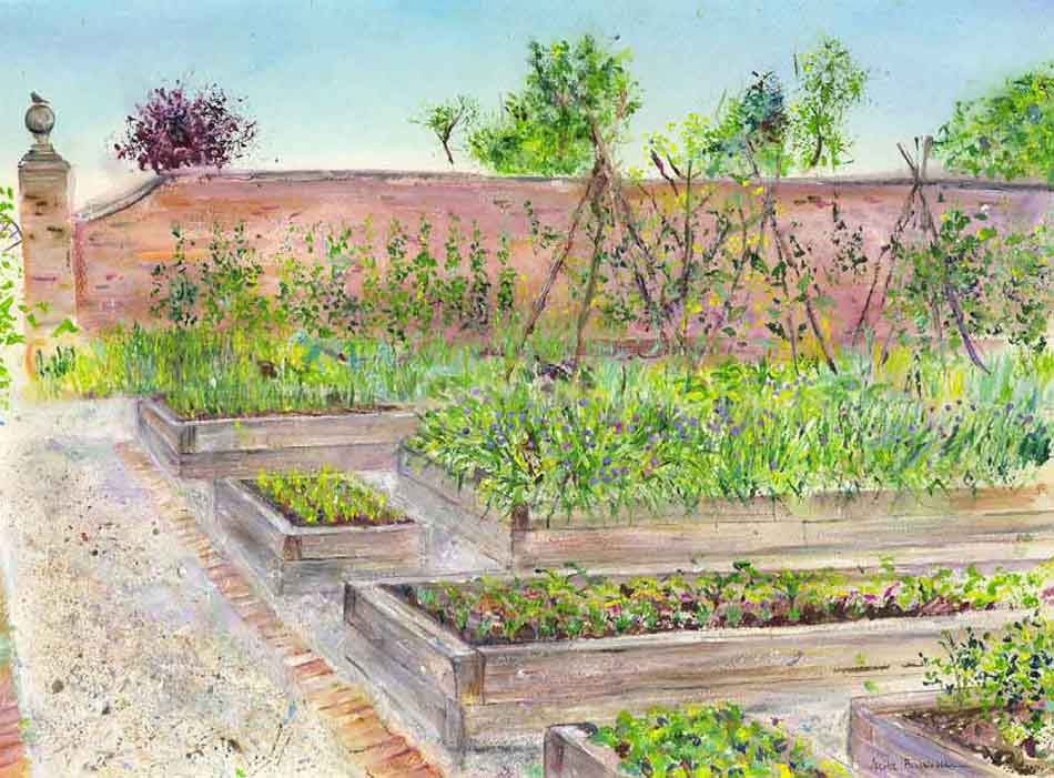 Painting of Rudding Park Kitchen Garden by Yorkshire artist Anita Bowerman